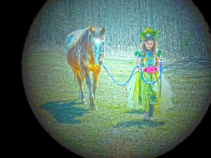"Into the little girl's dream the fairies enter leading Old Horse . ""Come with us"" they say."