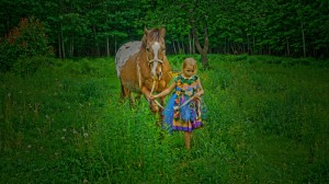 Old Horse and Nightingale, she whispers while they walk.